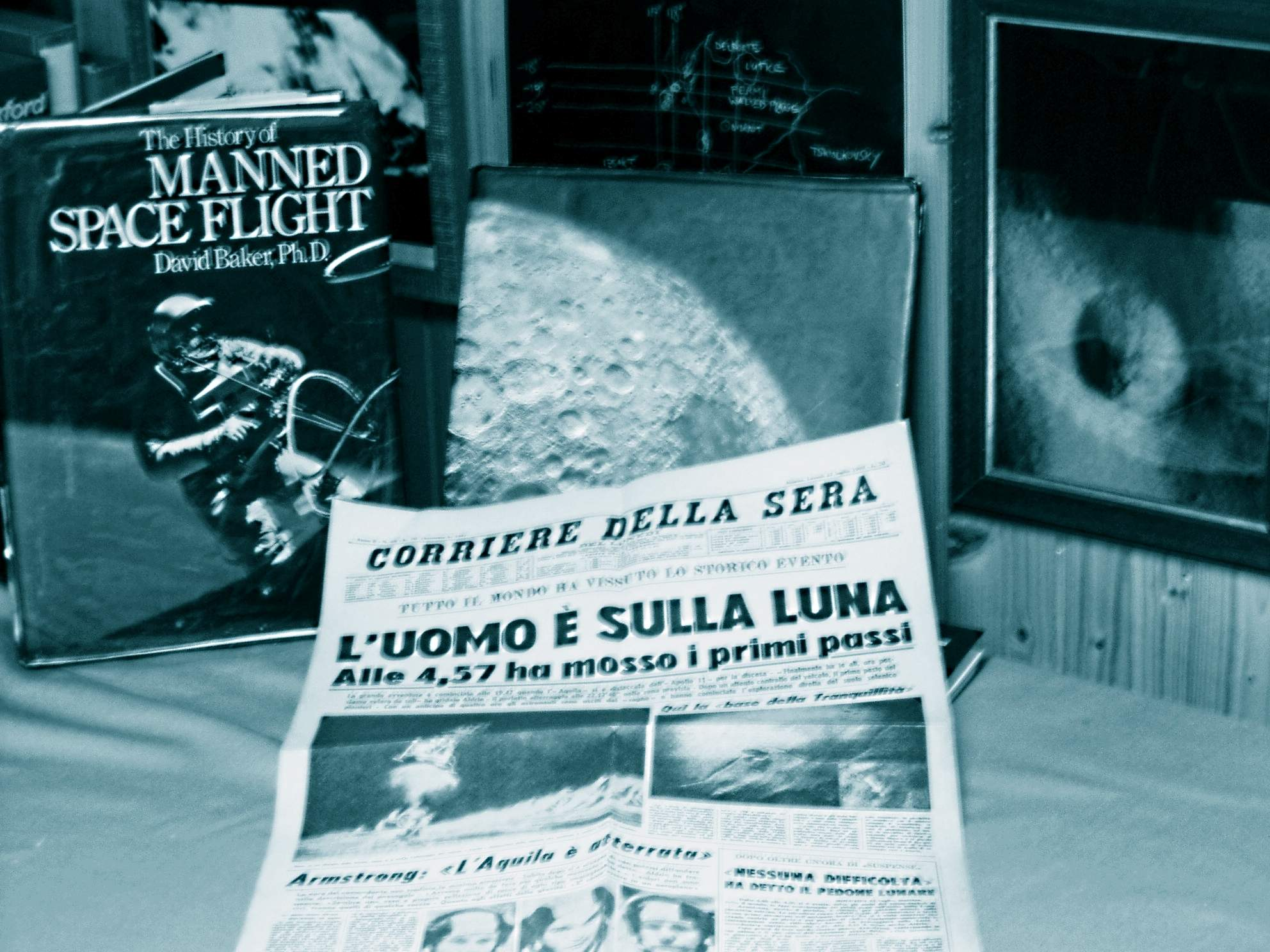 Corriere della Sera, July 21st, 1969, celebration of the first lunar landing, by Apollo 11 crew